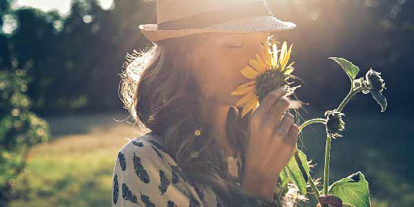 Young woman smelling a sunflower in the sunshine